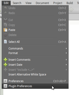 Accessing plugin preferences from the Edit menu.